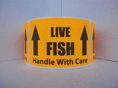 LIVE FISH HANDLE WITH CARE Warning Sticker Label fluorescent orange bkgd 250/rl