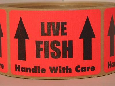 250 sticker labels, LIVE FISH HANDLE WITH CARE 2x3, red, fluorescent