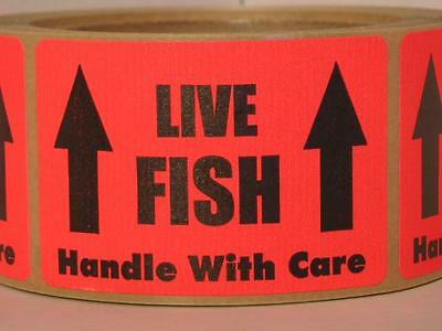 LIVE FISH HANDLE WITH CARE 2x3 Warning Sticker Label fluorescent red bkgd 250/rl