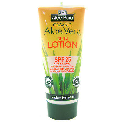 Aloe Pura Organic Aloe Vera SPF 25 Sun Lotion- Choice of Single or Pack