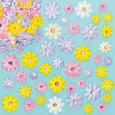 Self Adhesive Satin Gem Flowers for Kid's Crafts & Collage (Pack of 60)