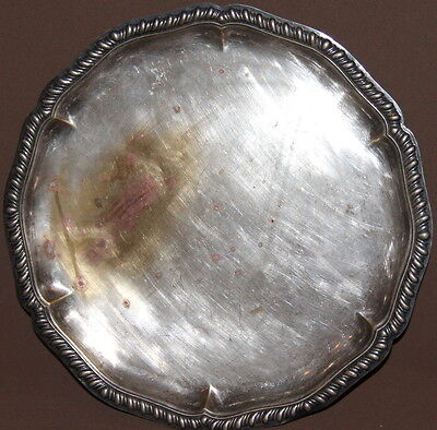 Antique handcrafted silverplated ornate serving tray