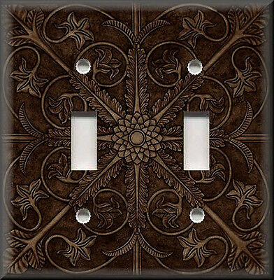 Metal Light Switch Plate Cover - Tuscan Tile Decor Pattern Dark Brown Home Decor