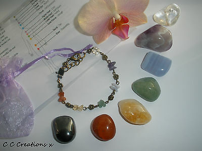 Healing Chakra Crystals Gemstones Gift Set & Bracelet  With  Medium Stones