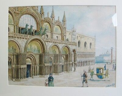 Antique Italian Watercolor Painting of European Palace  R.S. LEMMO  c. 1900