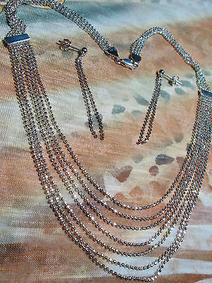 "925 Sterling Silver Bead Chain Necklace 16""  1.5mm   6 Bead Strands  Fancy Chain"