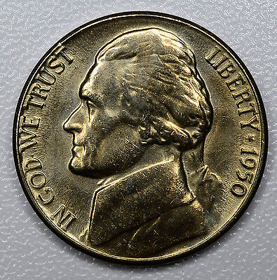5c Five Cent 1950 D UNC/BU, Jefferson Nickel, bright, gold hue.