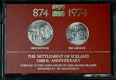 Iceland 1974 Gem BU silver KM#20 21 2 Coins Set 1000 & 500 Kronur Display.