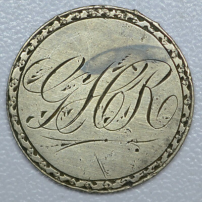 """Love Token Engraved """"GHR"""" Fancy Script on 1875 Liberty Seated Dime, 10c silver"""
