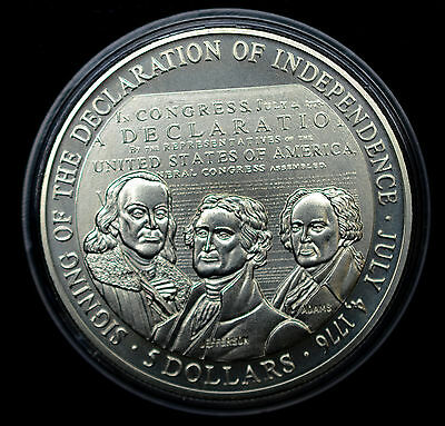 Liberia 5 Dollars 2000, CH BU, PL, $5 Signing of Declaration of Independence.
