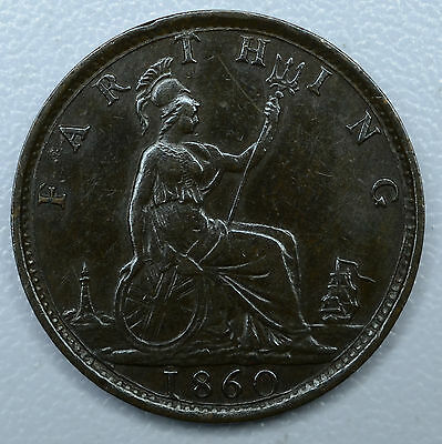 Great Britain 1 Farthing 1860, EF/AU, KM#747.2, Toothed Border, 1F Victoria, UK