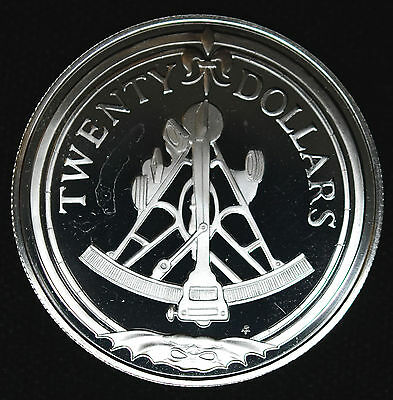 British Virgin Islands 20 Dollars 1985 FM Proof DCAM silver KM#50 Sextant  $20