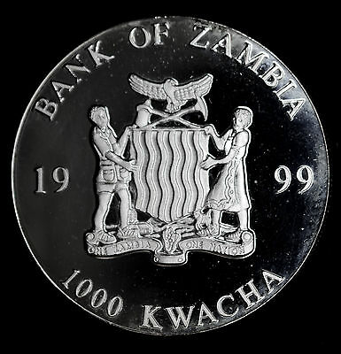 Zambia 1000 Kwacha 1999 Superb Gem Proof Silver Plated 1000K European Unity