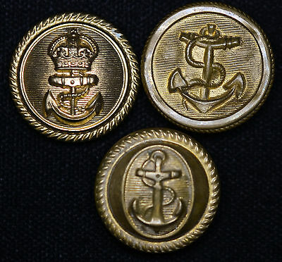 Lot of 3 Vintage Navy Anchor Military Brass Buttons. Civil War Like