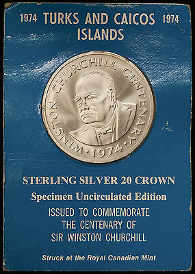 Turks & Caicos Islands 1974 20 Crown Winston Churchill Sterling Silver .925