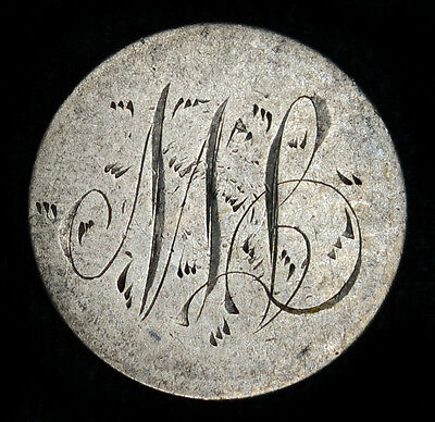 Love Token Engraved MB On 1892 Barber Head Dime 10c Silver.
