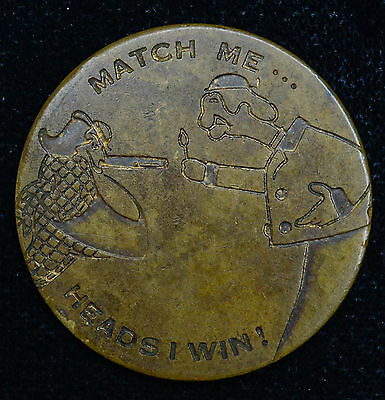 Love Token Engraved Heads Win Tails Lose Webster Cigar on Flipper Coin 30mm