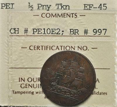 PEI Ships Colonies and Commerce Token  PE10-2 ICCS graded EF-45