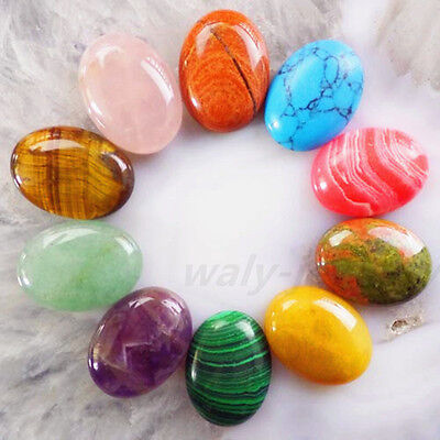 Q74909 10Pcs Beautiful Mixed Gemstone Oval CAB CABOCHON 15x20mm