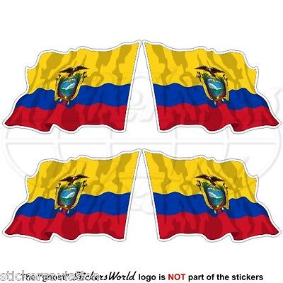"ECUADOR Flying Flag, South America Ecuadorian 50mm (2"") Vinyl Stickers-Decals x4"