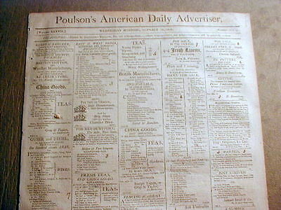 Original 1808 Philadelphia PA newspaper w RUNAWAY SLAVE REWARD AD -204 years old
