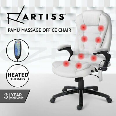 8 Point Massage Executive Electric Office Computer Chair Heated Recliner White