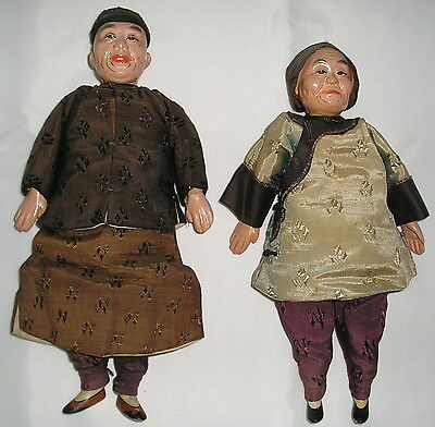 Chinese Dolls, Vintage 1938, Elderly Couple, Very Good Condition