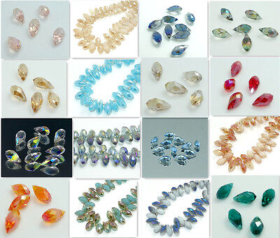 25PCS Teardrop CRYSTAL GLASS LOOSE BEADS 12*6MM Multi-Color for choose