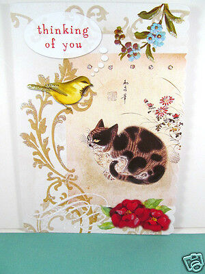 Carol Wilson Glitter Deluxe Greeting Card Thinking Of You Cat Watching Bird New
