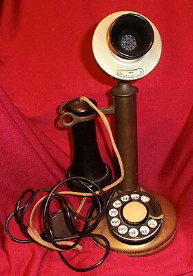 Vintage~Antique ~Brass  Usa Made Candlestick Dial Telephone~Patented 1913-1920