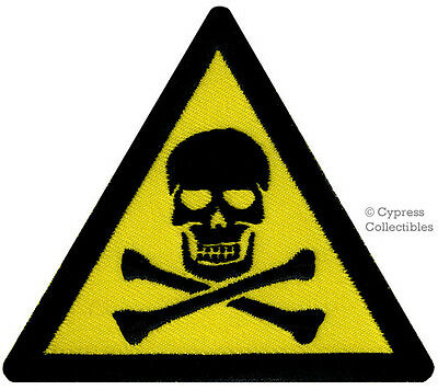 POISON SKULL DANGER WARNING PATCH embroidered iron-on applique YELLOW SIGN new