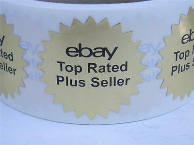 "ebay TR Plus Seller badge bright gold foil 1.5"" starburst label sticker 250/rl"