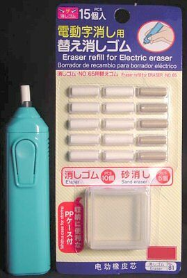 Handy Electric Eraser Battery Operated w/ Refills Blue