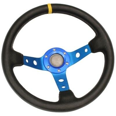 Blue Deep Dish Drifting/track Car Steering Wheel Race/sports/drift/leather Effec