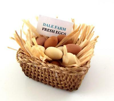 Melody Jane Dolls House Miniature Hand Made Free Range Eggs in Straw in Basket