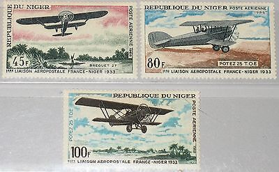 NIGER 1968 182-84 C83-85 25th Ann Air Mail Service Flugzeuge Airplanes MNH