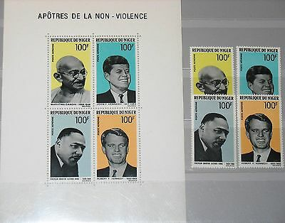 NIGER 1968 200-03 Block 6 C94-C97a John & Robert Kenndey Gandhi Luther King MNH