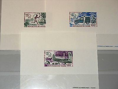 NIGER 1972 344-46 C193-95 DELUXE Universal Postal Union Day Weltposttag UPU Car