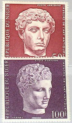 NIGER 1973 362-63 C204-05 Treasures of Antiquity Head of Hermes young Athlete **