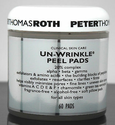 """Peter Thomas Roth """"Un-Wrinkle Peel Pads"""" For All Skin Types  60 Pads Unboxed"""