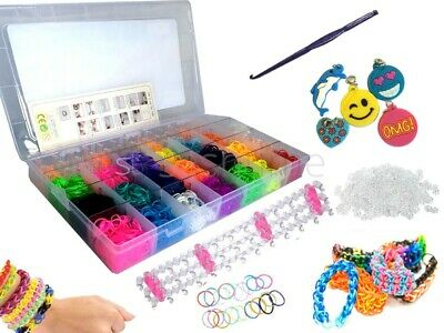 4000 Loom Colourful Bracelet Jewellery Maker Rainbow Rubber Bands Box W 25 Charm