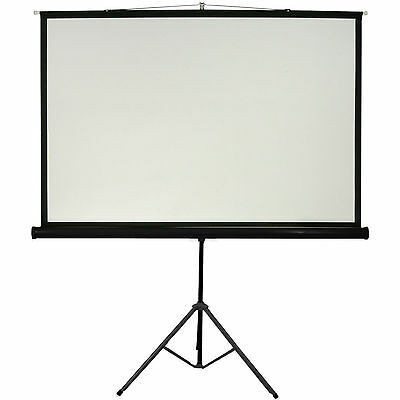 "100"" Tripod Floor Standing Pull-up Projector Screen 4:3 - Portable Presentations"