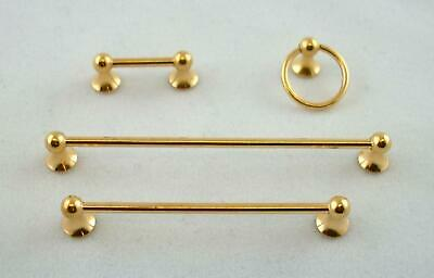 Dolls House Miniature 1:12 Scale Bathroom Fittings Gold Towel Rail Accessory Set