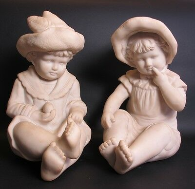 Outstanding Pair of Antique Italian Alabaster Sculptures of Children  c. 1920