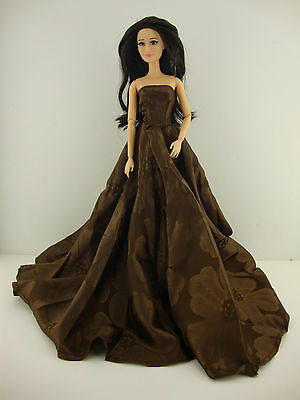 A Deep Rich Brown Extra Long Gown WOW Made to Fit the Barbie Doll