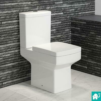 Modern White Ceramic Square Toilet Close Coupled Bathroom Pan & Seat WC