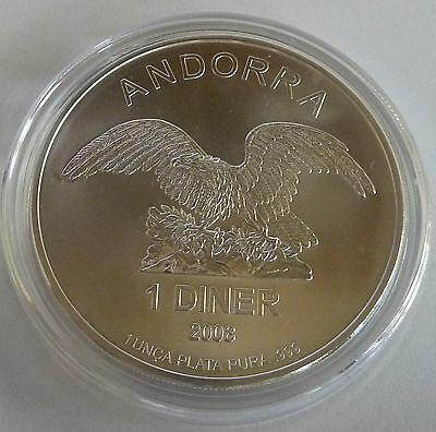 2008 Andorra Eagle 1 oz Troy Ounce .999 Silver Bullion Coin
