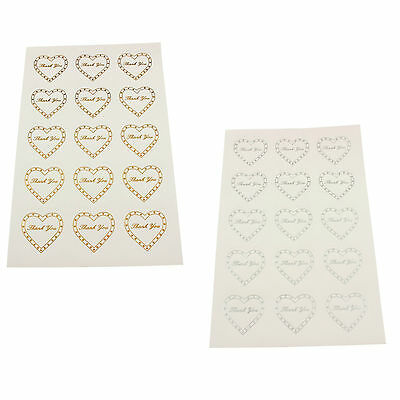 "Heart ""Thank You"" Stickers - Wedding Bridal Party Favour Gifts Craft Shop Labels"