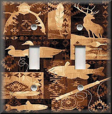 Metal Light Switch Plate Cover - Rustic Cabin Home Decor - Deer Fish Hunting