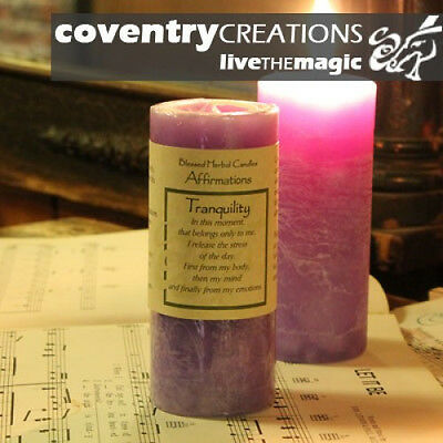 """4"""" Coventry Creations Lavender TRANQUILITY Blessed Herbal PILLAR Wicca CANDLE"""